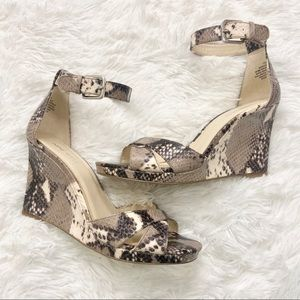 Brand New Nine West Snakeskin Mirandao Wedge Heels